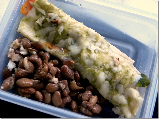 veggie enchilada and beans