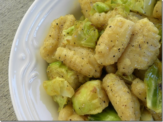 gnocchi and brussels sprouts