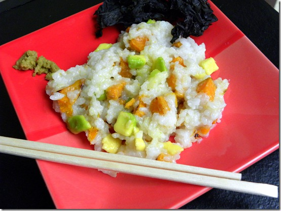 sushi rice, sweet potato and avocado