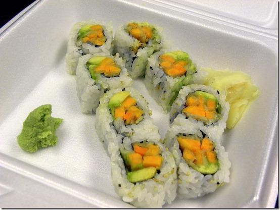 sweet potato tempura avocado sushi